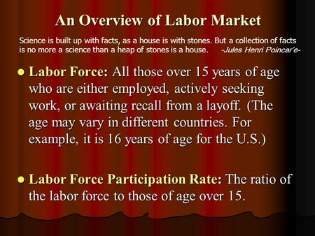 An Overview of Labor Market Labor Force: All those over 15 years of age who are either employed, actively seeking work, or awaiting recall from a layoff.