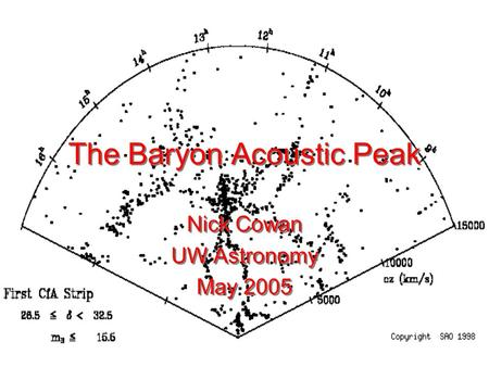The Baryon Acoustic Peak Nick Cowan UW Astronomy May 2005 Nick Cowan UW Astronomy May 2005.