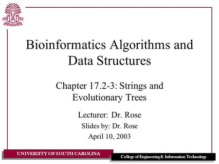 UNIVERSITY OF SOUTH CAROLINA College of Engineering & Information Technology Bioinformatics Algorithms and Data Structures Chapter 17.2-3: Strings and.