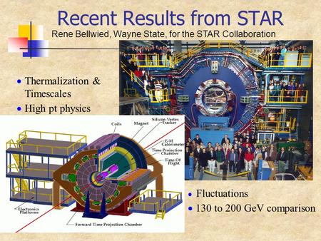 Recent Results from STAR Rene Bellwied, Wayne State, for the STAR Collaboration  Thermalization & Timescales  High pt physics  Fluctuations  130 to.