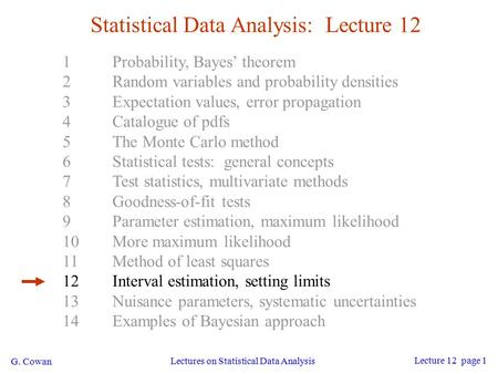 G. Cowan Lectures on Statistical Data Analysis Lecture 12 page 1 Statistical Data Analysis: Lecture 12 1Probability, Bayes' theorem 2Random variables and.