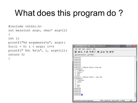 What does this program do ? #include int main(int argc, char* argv[]) { int i; printf(%d arguments\n, argc); for(i = 0; i < argc; i++) printf( %d: %s\n,