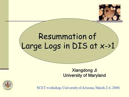 Resummation of Large Logs in DIS at x->1 Xiangdong Ji University of Maryland SCET workshop, University of Arizona, March 2-4, 2006.