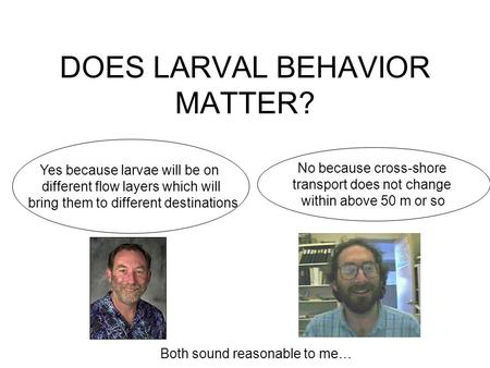 DOES LARVAL BEHAVIOR MATTER? No because cross-shore transport does not change within above 50 m or so Yes because larvae will be on different flow layers.