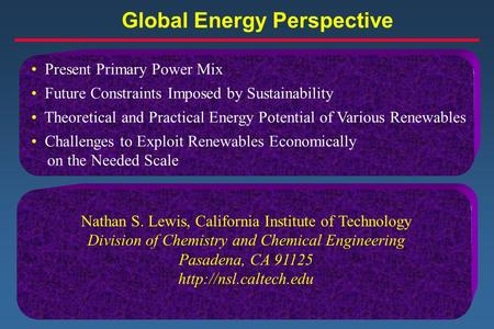 Global Energy Perspective Present Primary Power Mix Future Constraints Imposed by Sustainability Theoretical and Practical Energy Potential of Various.