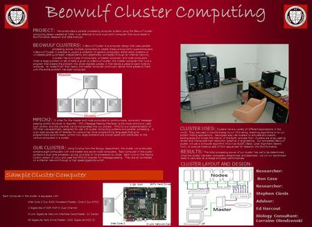 Beowulf Cluster Computing Each Computer in the cluster is equipped with: – Intel Core 2 Duo 6400 Processor(Master: Core 2 Duo 6700) – 2 Gigabytes of DDR.