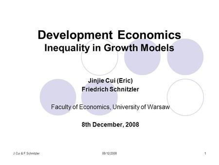 Development Economics Inequality in Growth Models