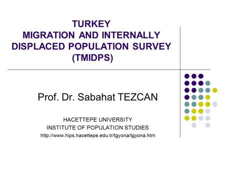 TURKEY MIGRATION AND INTERNALLY DISPLACED POPULATION SURVEY (TMIDPS) Prof. Dr. Sabahat TEZCAN HACETTEPE UNIVERSITY INSTITUTE OF POPULATION STUDIES