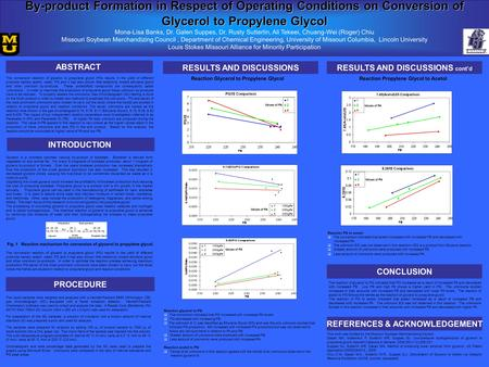 By-product Formation in Respect of Operating Conditions on Conversion of Glycerol to Propylene Glycol Mona-Lisa Banks, Dr. Galen Suppes, Dr. Rusty Sutterlin,