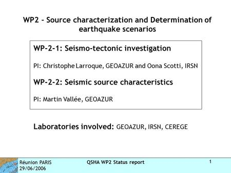Réunion PARIS 29/06/2006 QSHA WP2 Status report 1 WP2 - Source characterization and Determination of earthquake scenarios WP-2-1: Seismo-tectonic investigation.
