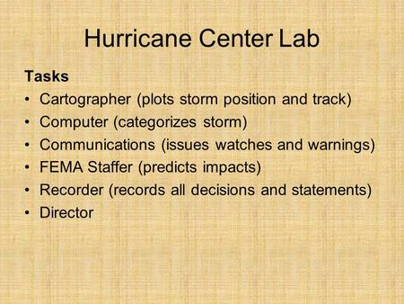 Hurricane Center Lab Tasks Cartographer (plots storm position and track) Computer (categorizes storm) Communications (issues watches and warnings) FEMA.
