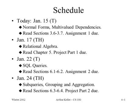 Winter 2002Arthur Keller – CS 1804–1 Schedule Today: Jan. 15 (T) u Normal Forms, Multivalued Dependencies. u Read Sections 3.6-3.7. Assignment 1 due. Jan.
