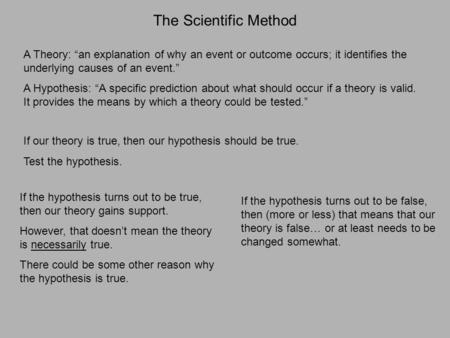 "The Scientific Method A Theory: ""an explanation of why an event or outcome occurs; it identifies the underlying causes of an event."" A Hypothesis: ""A specific."