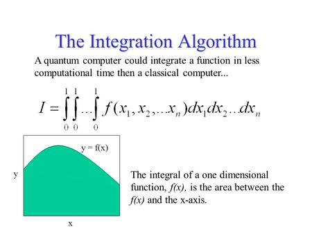 The Integration Algorithm A quantum computer could integrate a function in less computational time then a classical computer... The integral of a one dimensional.