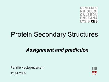 Protein Secondary Structures Assignment and prediction Pernille Haste Andersen 12.04.2005.
