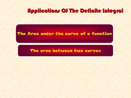 Applications Of The Definite Integral The Area under the curve of a function The area between two curves.