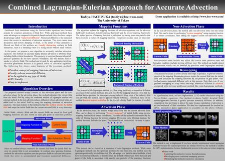 Combined Lagrangian-Eulerian Approach for Accurate Advection Toshiya HACHISUKA The University of Tokyo Introduction Grid-based fluid.