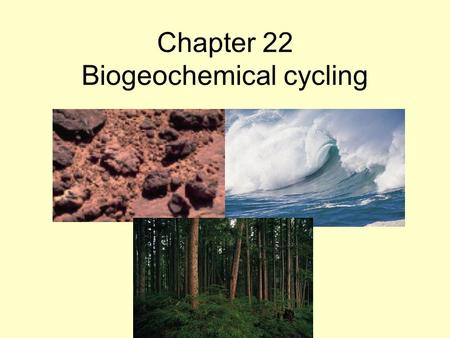 Chapter 22 Biogeochemical cycling. The Universe When? How? 15 X 10 9 years ago Matter existed in its most fundamental form. Elements formed as universe.