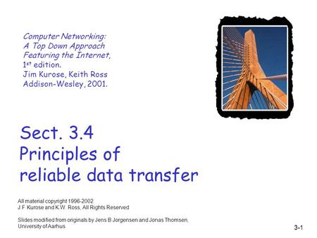 3-1 Sect. 3.4 Principles of reliable data transfer Computer Networking: A Top Down Approach Featuring the Internet, 1 st edition. Jim Kurose, Keith Ross.