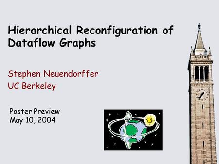 Hierarchical Reconfiguration of Dataflow Graphs Stephen Neuendorffer UC Berkeley Poster Preview May 10, 2004.