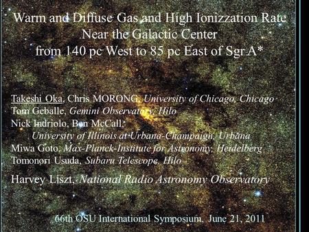 Warm and Diffuse Gas and High Ionizzation Rate Near the Galactic Center from 140 pc West to 85 pc East of Sgr A* 66th OSU International Symposium, June.