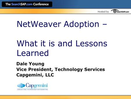 NetWeaver Adoption – What it is and Lessons Learned