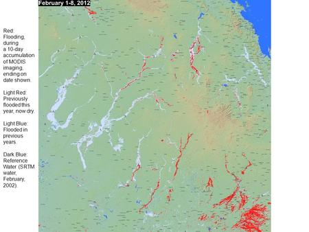 Red: Flooding, during a 10-day accumulation of MODIS imaging, ending on date shown. Light Red: Previously flooded this year, now dry. Light Blue: Flooded.