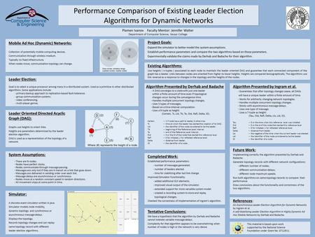 Performance Comparison of Existing Leader Election Algorithms for Dynamic Networks Mobile Ad Hoc (Dynamic) Networks: Collection of potentially mobile computing.