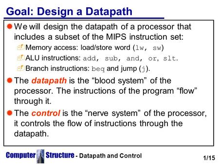 Computer Structure - Datapath and Control Goal: Design a Datapath  We will design the datapath of a processor that includes a subset of the MIPS instruction.