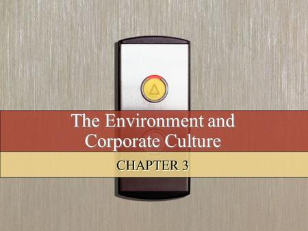 The Environment and Corporate Culture CHAPTER 3. Copyright © 2008 by South-Western, a division of Thomson Learning. All rights reserved. 2 Learning Objectives.
