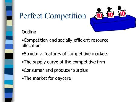 Perfect Competition Outline Competition and socially efficient resource allocation Structural features of competitive markets The supply curve of the competitive.