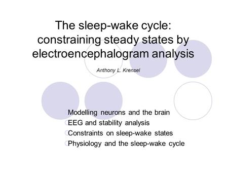 The sleep-wake cycle: constraining steady states by electroencephalogram analysis  Modelling neurons and the brain  EEG and stability analysis  Constraints.