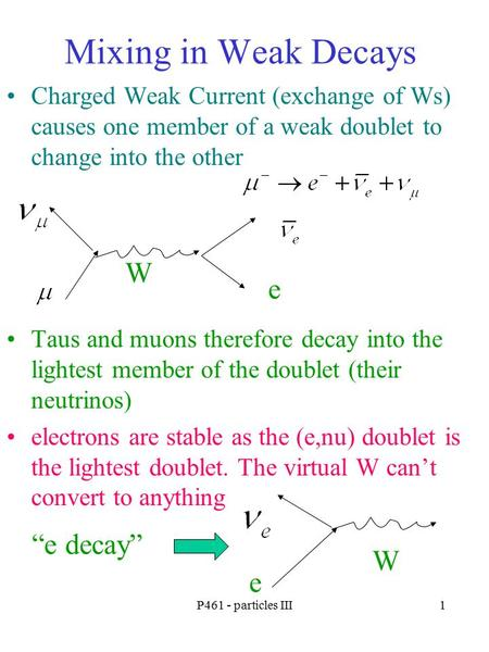 P461 - particles III1 Mixing in Weak Decays Charged Weak Current (exchange of Ws) causes one member of a weak doublet to change into the other Taus and.