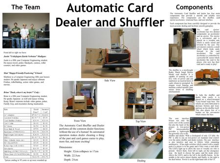Automatic Card Dealer and Shuffler The TeamComponents The user interface houses not only the user's view of the system but also the heart of the project.