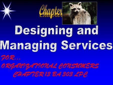 FOR… ORGANIZATIONAL CONSUMERS CHAPTER 13 BA 303 LPC.