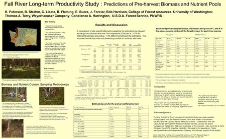 Fall River Long-term Productivity Study : Predictions of Pre-harvest Biomass and Nutrient Pools K. Petersen, B. Strahm, C. Licata, B. Flaming, E. Sucre,