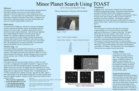 Minor Planet Search Using TOAST Abstract: This research project used TOAST (Transient Object Automated Search Telescope) to perform a search for new minor.