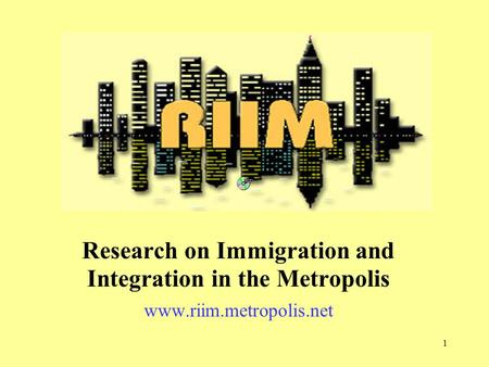 1 Research on Immigration and Integration in the Metropolis www.riim.metropolis.net.