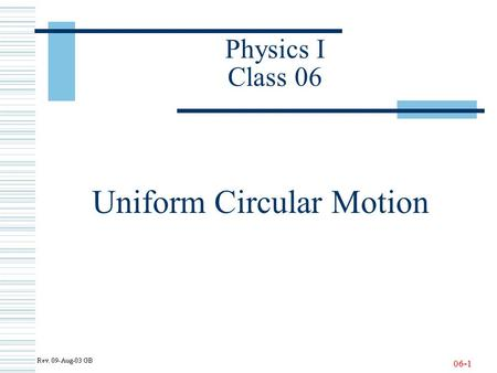 06-1 Physics I Class 06 Uniform Circular Motion. 06-2 Newton's Second Law - Yet Another Review!