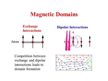 Exchange Interactions Dipolar Interactions Competition between exchange and dipolar interactions leads to domain formation Atom Magnetic Domains.