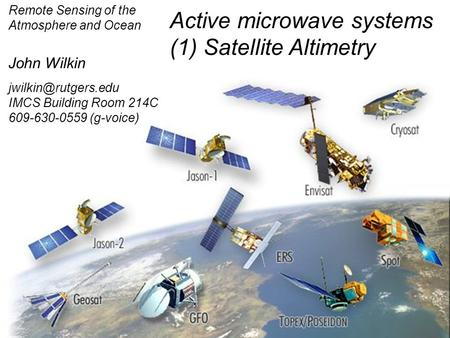 Active microwave systems (1) Satellite Altimetry
