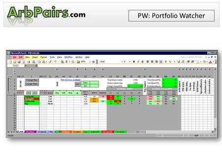 PW: Portfolio Watcher. Key Features Works with REDI+, eSignal, ThinkOrSwim & Obsidian Handles pairs, mergers and single stocks Batch-import pairs, add.