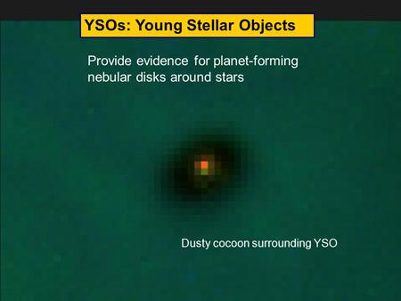 YSOs: Young Stellar Objects Provide evidence for planet-forming nebular disks around stars Dusty cocoon surrounding YSO.