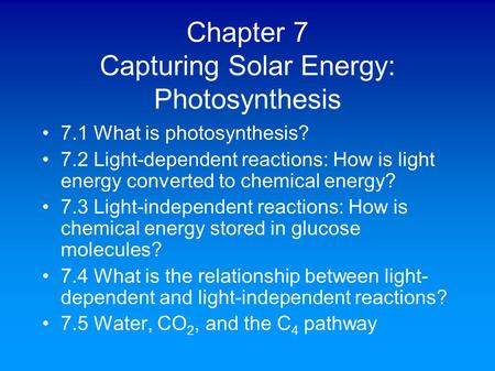 Chapter 7 Capturing Solar Energy: Photosynthesis