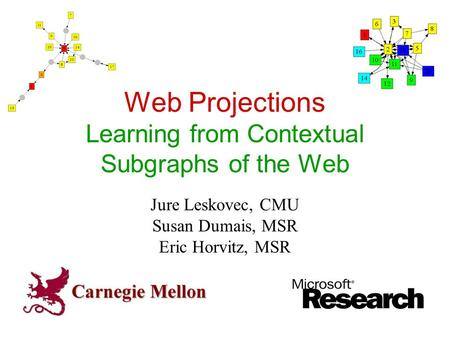Web Projections Learning from Contextual Subgraphs of the Web Jure Leskovec, CMU Susan Dumais, MSR Eric Horvitz, MSR.