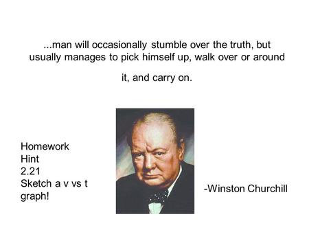 ...man will occasionally stumble over the truth, but usually manages to pick himself up, walk over or around it, and carry on. -Winston Churchill Homework.