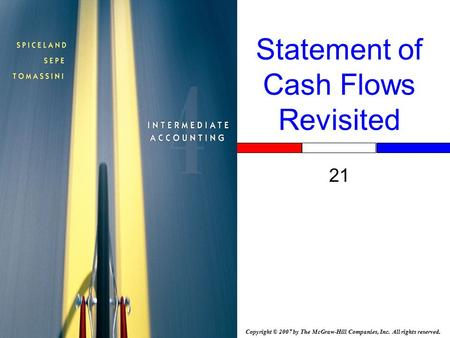 Copyright © 2007 by The McGraw-Hill Companies, Inc. All rights reserved. Statement of Cash Flows Revisited 21.