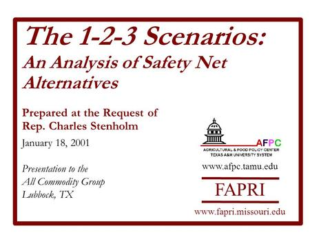 The 1-2-3 Scenarios: An Analysis of Safety Net Alternatives Prepared at the Request of Rep. Charles Stenholm January 18, 2001 Presentation to the All Commodity.