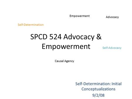 SPCD 524 Advocacy & Empowerment Self-Determination: Initial Conceptualizations 9/2/08 Self-Determination Empowerment Self-Advocacy Advocacy Causal Agency.