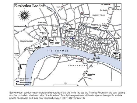 Early modern public theaters were located outside of the city limits (across the Thames River) with the bear baiting and the brothels in what was called.